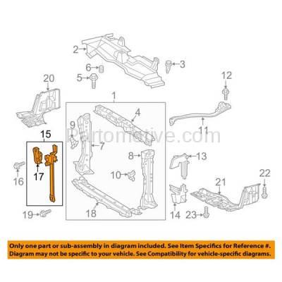 Aftermarket Replacement - RSP-1775 2012-2017 Toyota Prius C (Hatchback 4-Door) 1.5L Front Radiator Support Center Hood Lock Latch Support Bracket Primed Made of Steel - Image 3