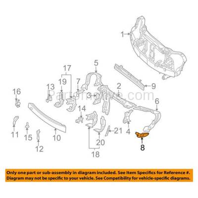 Aftermarket Replacement - RSP-1515R 2003-2009 Mercedes-Benz CLK-Class (Convertible & Coupe) Front Radiator Support Lower Side Bracket Brace Panel Right Passenger Side - Image 3