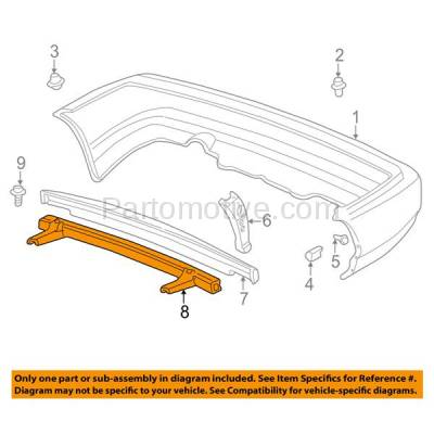 Aftermarket Replacement - BRF-1397R 1997-2000 Acura EL & 1996-2000 Honda Civic 1.6L Rear Bumper Impact Face Bar Crossmember Reinforcement Primed Made of Steel - Image 3