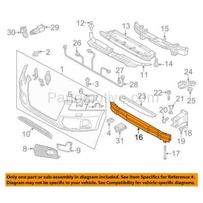 Aftermarket Replacement - BRF-1031F 2009-2017 Audi Q5 & 2014-2017 SQ5 (Models with Adaptive Cruise Control) Front Bumper Impact Bar Crossmember Reinforcement Aluminum - Image 3