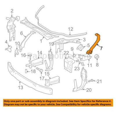 Aftermarket Replacement - RSP-1521R 2006-2011 Mercedes-Benz CLS-Class (219 Chassis) Front Radiator Support Side Bracket Brace Panel Primed Steel Right Passenger Side - Image 3