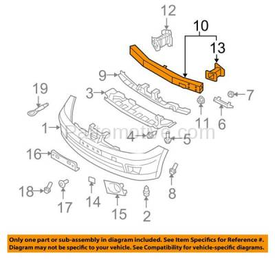 Aftermarket Replacement - BRF-1683F 2007-2012 Nissan Versa (includes Driver Side Rail Extension) Front Bumper Impact Face Bar Crossmember Reinforcement Primed Steel - Image 3