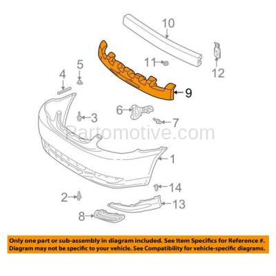 Aftermarket Replacement - ABS-1387F 03-04 Corolla Sedan Front Bumper Face Bar Impact Absorber TO1070127 5261102070 - Image 3