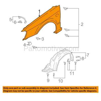 Aftermarket Replacement - FDR-1431RC CAPA 2000-2004 Subaru Legacy (2.5 Liter H4 Engine) Front Fender Quarter Panel (with Molding Holes) Primed Steel Right Passenger Side - Image 3