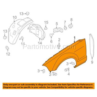 Aftermarket Replacement - FDR-1517RC CAPA 2010-2014 Ford Mustang V6/V8 (Convertible & Coupe) Front Fender Quarter Panel (without Pony Package) Primed Steel Right Passenger Side - Image 3