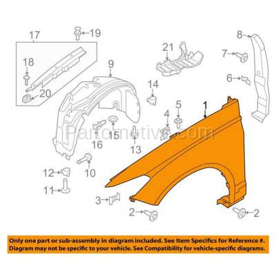 Aftermarket Replacement - FDR-1343LC CAPA 2013-2016 Ford Fusion (1.5L & 1.6L & 2.0L & 2.5L) Front Fender Quarter Panel (without Molding Holes) Steel Left Driver Side - Image 3