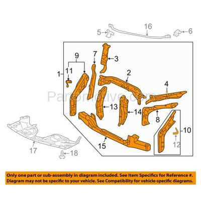 Aftermarket Replacement - RSP-1374 2008-2010 Honda Odyssey (DX, EX, EX-L, LX, NHL SE, Touring) (3.5 Liter V6 Engine) Front Center Radiator Support Assembly Primed Steel - Image 3