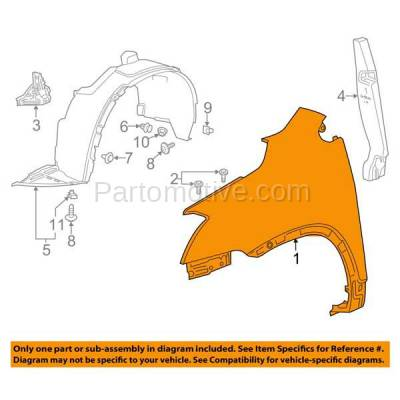 Aftermarket Replacement - FDR-1247RC CAPA 2013-2016 Buick Encore (1.4L Turbocharged Engine) Front Fender Quarter Panel (without Turn Signal Lamp Hole) Primed Right Passenger Side - Image 3