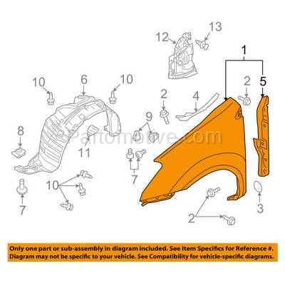 Aftermarket Replacement - FDR-1622RC CAPA 2011-2013 Nissan Rogue & 2014-2015 Rogue Selection (2.5 Liter Engine) Front Fender Quarter Panel Primed Steel Right Passenger Side - Image 3