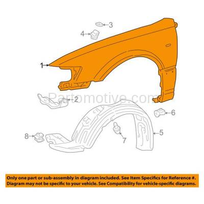 Aftermarket Replacement - FDR-1129L 1997-2001 Toyota Camry (CE, LE, XLE) (USA & Japan Built) Front Fender Quarter Panel (with Molding Holes) Steel Left Driver Side - Image 3