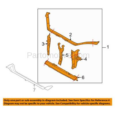 Aftermarket Replacement - RSP-1673 2009-2013 Subaru Forester X & XT (Wagon 4-Door) 2.5L Front Center Radiator Support Core Assembly Primed Made of Steel - Image 3