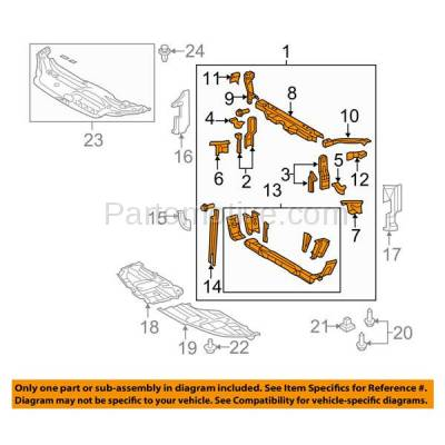 Aftermarket Replacement - RSP-1723 2005-2010 Toyota Avalon (Limited, Touring, XL, XLS) Sedan 4-Door (3.5 Liter V6 Engine) Front Center Radiator Support Core Assembly Steel - Image 3