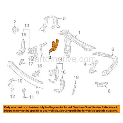 Aftermarket Replacement - RSP-1504R 2001-2007 Mercedes Benz C-Class & 2003-2009 CLK-Class Front Radiator Support Center Bracket Brace Panel Primed Steel Right Passenger Side - Image 3