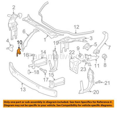 Aftermarket Replacement - RSP-1520R 2006-2011 Mercedes-Benz CLS-Class (219 Chassis) Front Radiator Support Side Bracket Brace Panel Primed Steel Right Passenger Side - Image 3