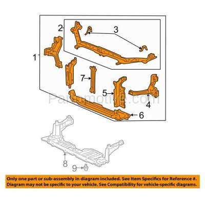 Aftermarket Replacement - RSP-1348 2004-2005 Honda Civic (Coupe & Sedan) (1.7 & 2.0 Liter Engine) Front Center Radiator Support Core Assembly Primed Made of Steel - Image 3