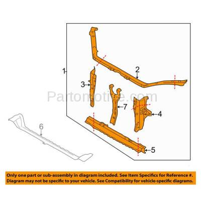 Aftermarket Replacement - RSP-1679 2008-2011 Subaru Impreza (Sedan & Wagon) (2.5 Liter H4 Engine) Front Center Radiator Support Core Assembly Primed Made of Steel - Image 3