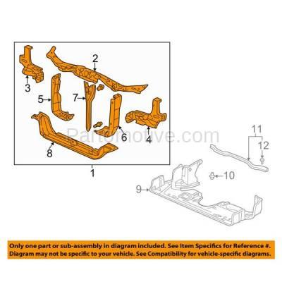 Aftermarket Replacement - RSP-1372 2002-2004 Honda Odyssey (Cargo, EX, EX-L, LX) Mini Passenger Van 5-Door (3.5L) Front Center Radiator Support Assembly Primed Steel - Image 3
