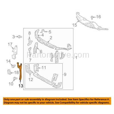 Aftermarket Replacement - RSP-1732 2007-2011 Toyota Camry (Base, CE, Hybrid, LE, SE, XLE) (USA Built) Front Radiator Support Center Hood Latch Lock Support Bracket Steel - Image 3