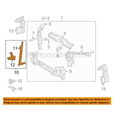 Aftermarket Replacement - RSP-1746 2014-2016 Toyota Corolla (Sedan 4-Door) (1.8 Liter Engine) Front Radiator Support Center Hood Latch Lock Support Bracket Primed Steel - Image 3
